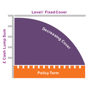 Graph displaying how Decreasing Term Assurance or Decreasing Term Life Insurance decreases over the policy term. It is designed to decrease in line with a repayment mortgage