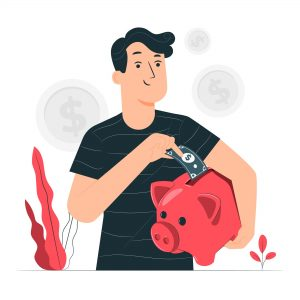 a man putting a dollar bill into a piggy bank as he saves money on his life insurance