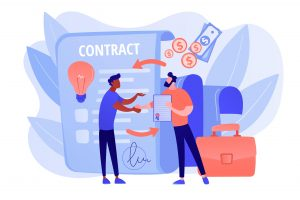 Illustration of money and a contract between 2 men