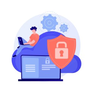 Illustration of a padlock on a shield with a man working on a laptop. The image illustrates the security of using an FCA regulated broker